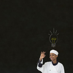 Lightbulb idea African woman chef on chalk blackboard background