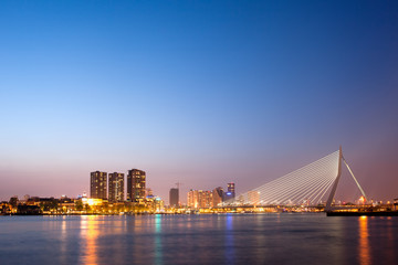 Erasmus Bridge in Rotterdam at Dusk