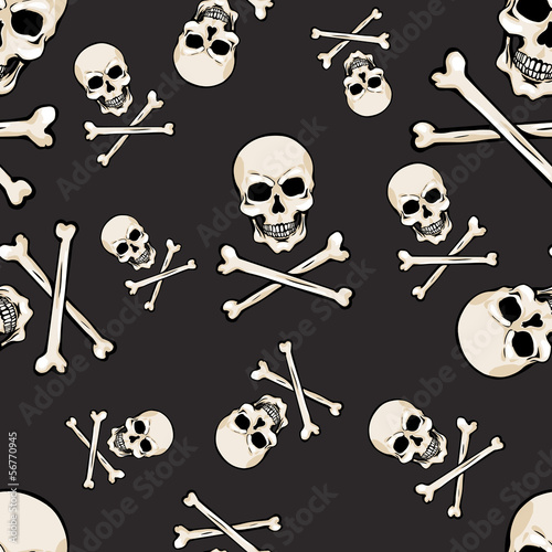 vector seamless pattern with skulls and bones on dark background