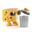 Cheese checks the garbage bin