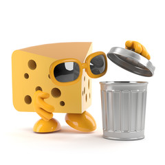 Cheese checks the garbage bin