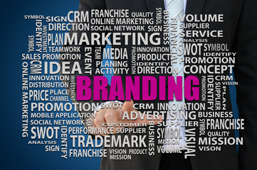 Businessman pointing branding word of marketing concept