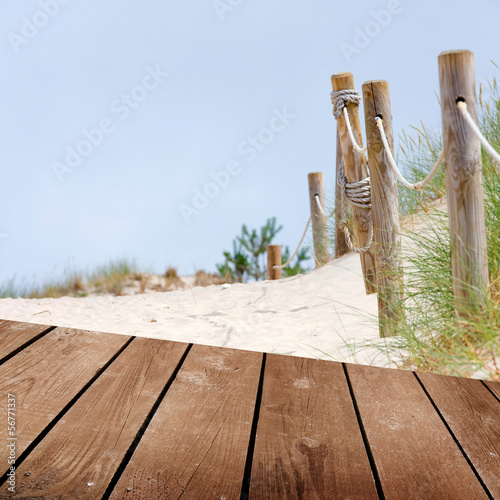 Beach and empty wooden deck table, product montage display.