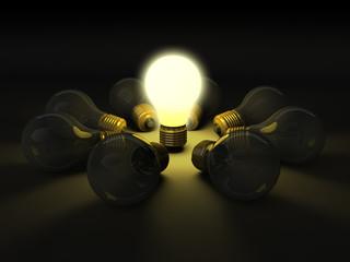 One lit bulb