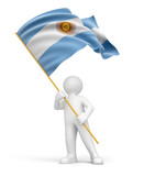Man and Argentina flag (clipping path included)