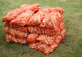 A Stack of Net Sacks Containing Firewood Sticks.