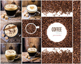 Fototapety Coffee collage with Coffee espresso, cappuccino, latte, mocha an