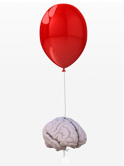 brain tied to a balloon that flies
