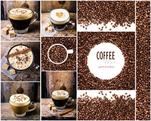 Coffee collage with Coffee espresso, cappuccino, latte, mocha an