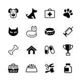 Set 16 icons - pets, vet clinic, veterinary medicine