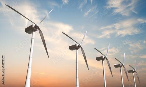 Leinwanddruck Bild wind turbines