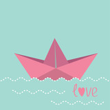 Origami paper boat and waves.  Love card.