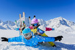 Ski, sun and fun - family enjoying winter vacation