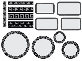 set of design elements with greek pattern