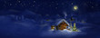 Hut, Christmas tree with lights, panorama landscape - 56774390