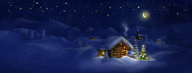 Hut, Christmas tree with lights, panorama landscape