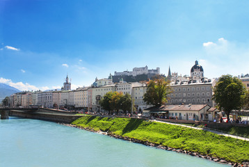 View of city salzburg and Salzach river, Austria