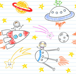 Seamless background with happy children's and aliens