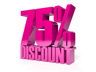 75 percent discount. Pink shiny text. Concept 3D illustration.