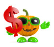 Pumpkin holds a US Dollar sign