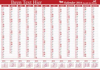 German Calendar 2014 - Deutsch verschiedenfarbige Kalender