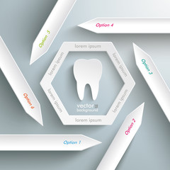 Six Arrows Hexagon Infographic Tooth