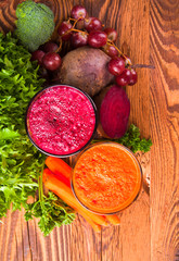 Beetroot and carrot juice,Healthy drink on wood