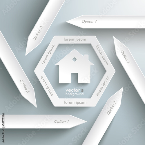 Six Arrows Hexagon Infographic House
