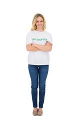 Smiling blonde volunteer posing