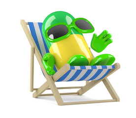 Pill relaxes in a deckchair