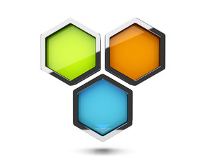 Abstract 3d colorful honeycomb design object isolated