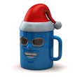 Fun blue mug with Santa Claus hat