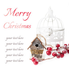 Christmas composition: birdhouse and vintage bird cage