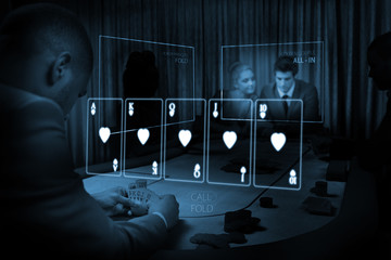 Room of people gambling on table in blue light with holographic