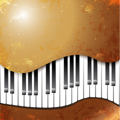 Grunge musical background with piano keys