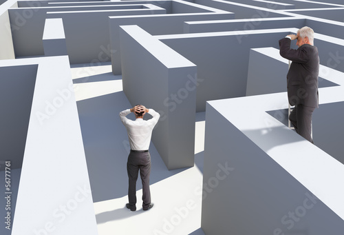 Poster Two businessmen standing in maze