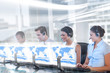Call center employees at work on futuristic holograms