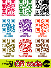 happy celebration messages with vector qr codes