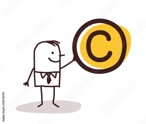 Man Holding a Copyright Symbol