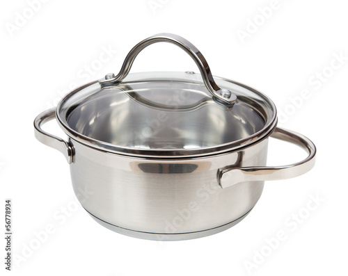 Metal saucepan isolated on white background