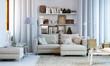 Leinwanddruck Bild - Wohnzimmer in Wohnung - Small living room