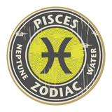 Stamp with the Zodiac Pisces symbol horoscope, vector