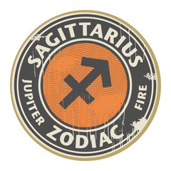 Stamp with the Zodiac Sagittarius symbol horoscope, vector