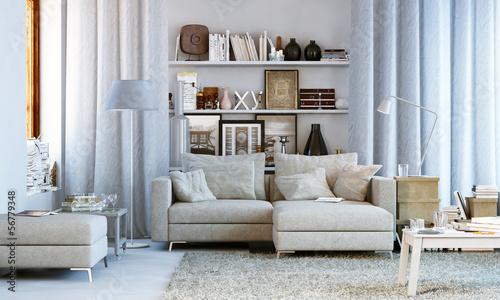 Leinwanddruck Bild Wohnzimmer in Wohnung - Small living room