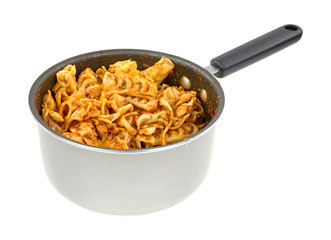 Home cooked pasta in a saucepan on a white background