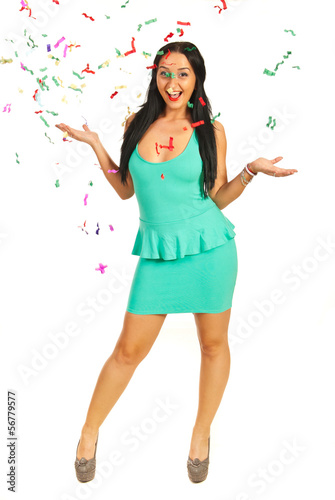 Happy woman with confetti