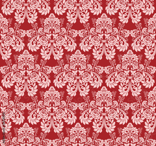 Seamless claret Wallpaper with pink roses.
