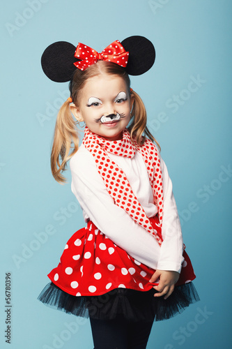 little beautiful girl with mouse mask