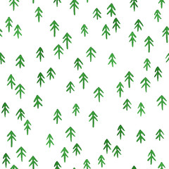 Seamless stylish pattern with watercolor christmas trees
