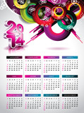 Vector Calendar 2014 illustration on a color background.